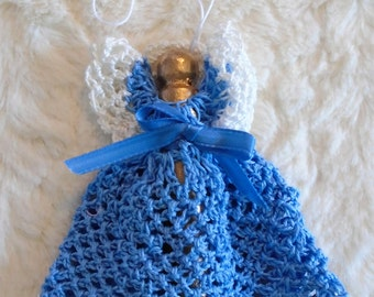 Crocheted ANGEL Christmas Tree Ornament BLUE and White
