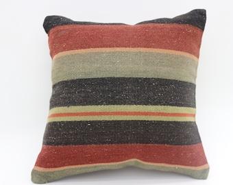 16x16 striped kilim pillow turkish kilim pillow ethnic pillow vintage kilim pillow decorative kilim pillow ethnic pillow SP4040-4582