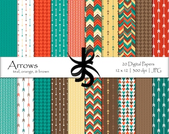 Digital Scrapbook Papers-Arrows-Teal-Orange-Brown-Arrow Papers-Geometric-Tribal-Aztec-Triangles-Printable-Instant Download Clip Art