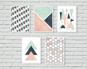 Triangles geometric art, abstract art, wall art, abstract, wall print, pastel, wall decor, three triangles, bedroom decor, A4, A5, mint