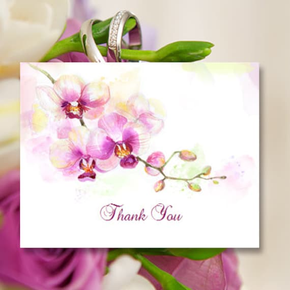 Printable Thank You Card Template Orchid Editable