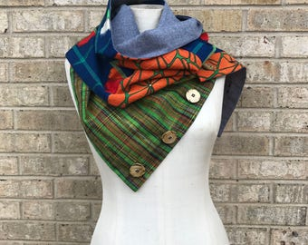 Repurposed Japanese Wool Kimono Scarf