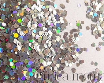 Silver Holographic Glitter 063  - Solvent resistant glitter for nail art and indie polish and crafts