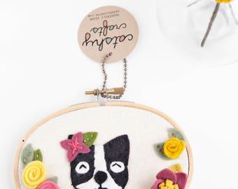Nursery Wall Decor. Dog Art. Felt Embroidery Hoop Art. Boston Terrier. Nursery Art. Animal Wall Hanging. Gifts Under 50.  Gift for Her