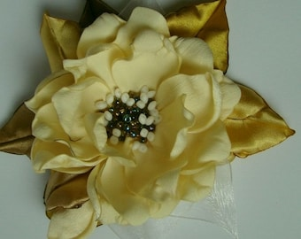 Handmade milkwhite-golden-white satin flower brooch, flower clip & pin, embroidered flower