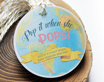 Around the World Baby Shower Favors, Pop it when she pops, Gender Reveal, Travel Theme, Personalized Gift Tags, Champagne Baby Shower Tags