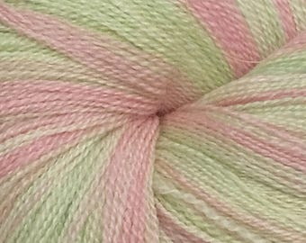 Strawberry Mint Colorway - Merino/Silk Lace Weight