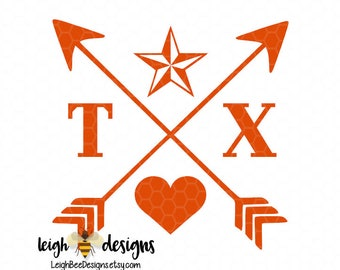 Texas Love, Cross Arrow, Loan Star State Decal, Vinyl Decal, Vinyl Sticker, Cross Arrow Decal, Loan Star State, Car Decal, Arrow