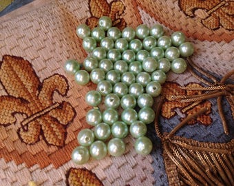 Large lot of 55 beads, round, iridescent color