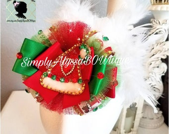 """New! 5"""" length ,2""""feathers on top ,5""""width, 3"""" thick Santa """"Ho Ho Ho"""" bow (6mos -UP) with silver diamond mesh jewels,crystal rhinestones"""