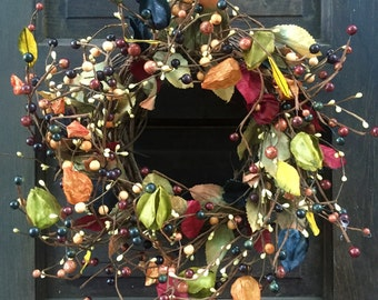 Fall Wreath-Autumn Wreath-Grapevine Wreath-Pip Berry Wreath -Fall Decor-Autumn Decor-Fall Centerpiece-Holiday Wreath-Free Shipping