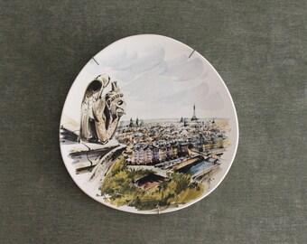 Decorative vintage wall plate, Paris, La Tour Eiffel from Notre Dame, Hasbeendeco