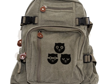 Backpack Three Musketeers Watson the Cat, Canvas Backpack, Travel Bag, Crazy Cat Lady, Diaper Bag Backpack, Cute Backpack, Women's Backpack