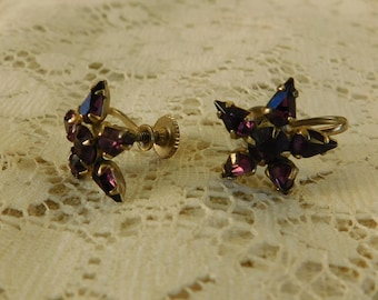 Vintage Earrings, Vintage Jewelry, Star Earrings, Purple Earrings, Rhinestone Earrings, Purple Rhinestones, 1950's Jewelry