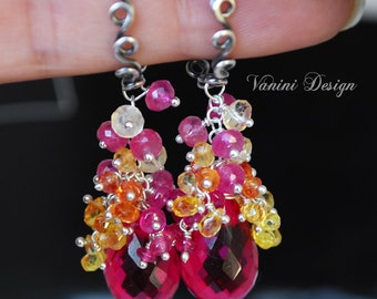 Bouquet-Fine silver,Raspberry Quartz,Pink and Songea Sapphires,citrine and pink ruby earrings