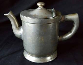 Antique Thorner Bros. Hospital Property Hinged Lid Creamer Tea Pot Syrup Server 1896 Nickel Silver