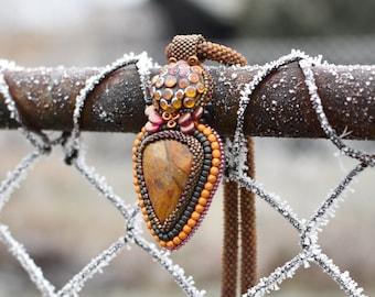 Crazy Mushroom -  beadcrochet/beadembroidery necklace