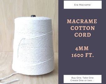 Macrame cord - Cotton cord for macrame wall hangers - 4 mm cotton yarn - Macrame supplies - EraMacrame - DIY cotton rope