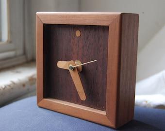 Wood Desk Clock Modern Art   Minimalist Walnut Wood Desk Clock   Modern  Office Decor