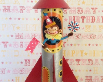 Rocket/Spaceship Retro Monkey/ Cake Topper/Decoration