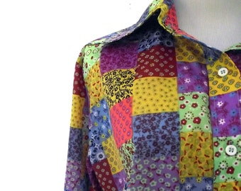 Patchwork Blouse / Vintage 70s Nylon Windbreaker Blouse 40 Inch Waist