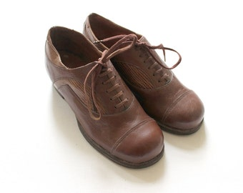 French vintage 30/40's / kids shoes / brown leather + snake leather / leather sole / unworn / size US 11 / UE 28 / collectible