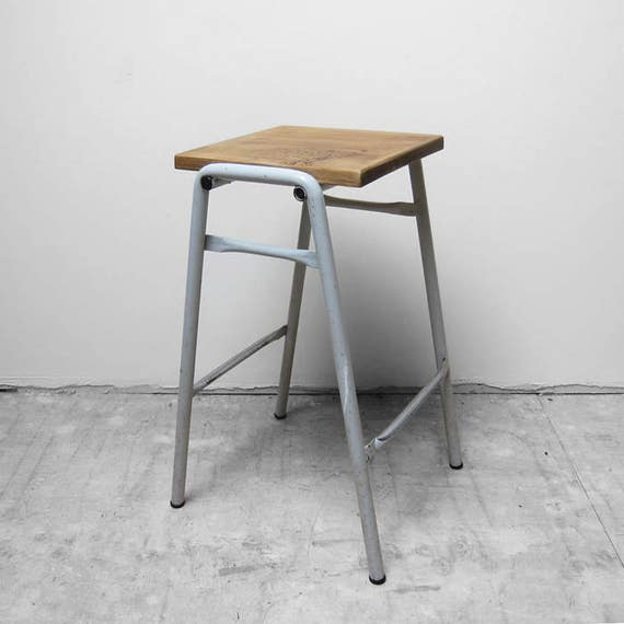 Industrial Vintage Lab Stool High Kitchen Bar Seat Pine Steel