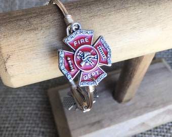 Fireman Firefighter First Responder Wire Wrapped Bangle Bracelet