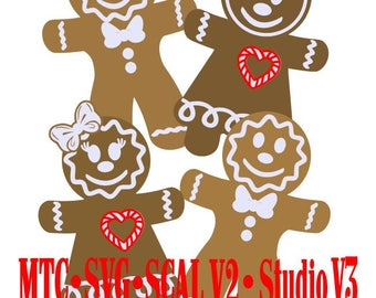 Gingerbread Men and Women Holiday Gift Tag Cut Files MTC SVG SCAL v2 Digital Format Bundle of 4