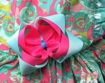 Double Stack bow made to match Caroline Kate watercolor roses~ m2m caroline kate watercolor roses, pink and aqua bow, made to match watercol