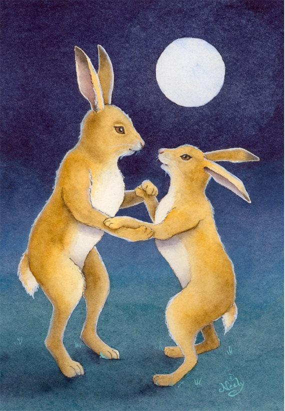 Pareja conejo bailando baile de luna enmarañado impresión