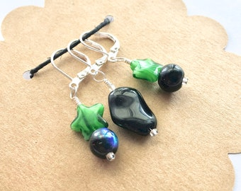 Removable Stitch Markers - Closable - Set of 3 - Green and Black Glass - L71