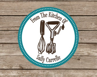 Personalized baking stickers cooking labels baked goods stickers kitchen labels utensils whisk and beater from the kitchen of
