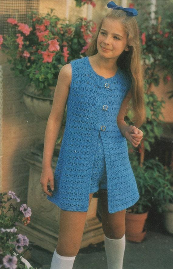 Girls Hot Pants and Waistcoat PDF Crochet Pattern : Childrens