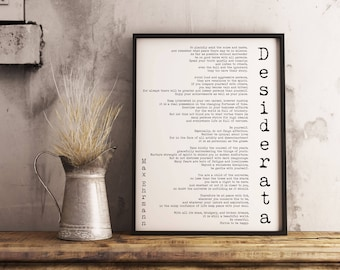 Instant Download Poem Art Desiderata Print, minimalist poster, Max Ehrmann Literary Poster, literary quote printable, motivational poster