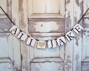 Wedding banner, Couples name banner, glitter wedding banner,wedding decor, Personalized banner, bridal shower decor, Sweetheart table decor