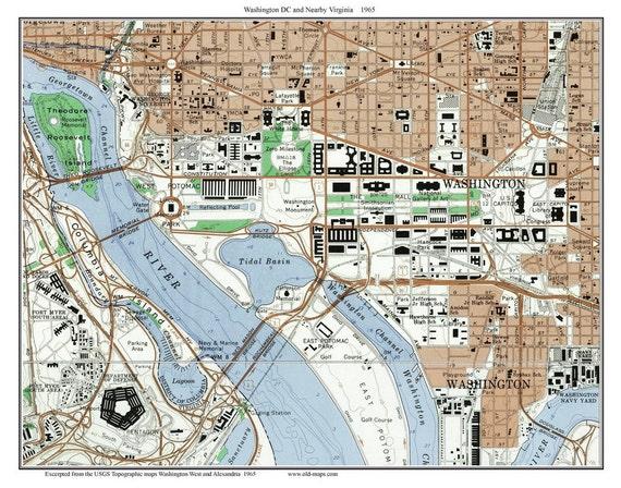 Washington DC Downtown 1965 Old Topographic Map USGS Custom