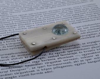 Lens pendant - cattle bone, glass, silver