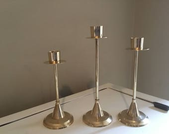 Vintage Brass Candle Sticks Set of 3