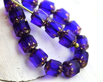 6mm Dark Blue Cathedral beads, Cobalt blue czech glass fire polished round beads, golden ends - 20Pc - 1153