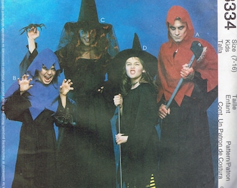 Size 7-16 Boys or Girls Easy Costume - Witch Costume Pattern - Ghoul Costume Pattern - Halloween Costume - McCalls 3334