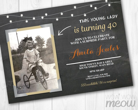 surprise party invitation birthday photo frame invite download