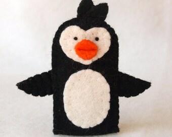 Felt finger puppet, penguin, animal puppet, storytime puppet