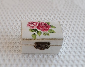 Wedding Ring Box Ring Bearer Proposal Box Ring Holder With Pink Roses And Golden Details
