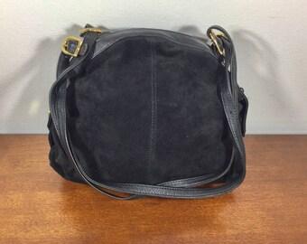 Brio Black Suede Leather Purse, Bag, Shoulder Bag