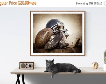 FLASH SALE til MIDNIGHT Vintage Football Gear Navy Blue Helmet Photo Print, Wall Decor, Wall Art,  Kids Room, Rustic Decor, Vintage Sports,