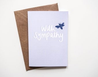 With Sympathy Pastel Blue Bee Greetings Card