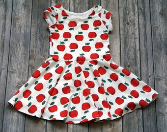 Apple Dress. Back to School Dress. Fall Dress. Baby Dress. Toddler Dress. Little Girl Dress. Twirl Dress. Twirly Dress. Play Dress.