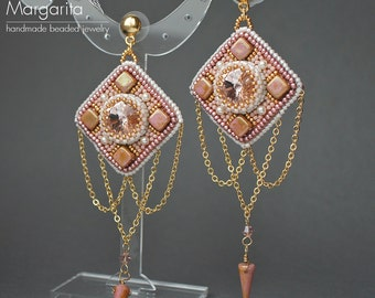 Rose gold long chandelier earrings, bead embroidery earrings with chains, beads and swarovski crystals, pink gold square geometric earrings