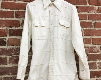 Vintage Men's Window Pane Seventies 1970s Shirt by Weeds Size Small